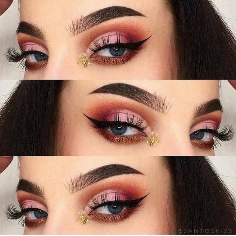 maquillaje de ojos con brillo