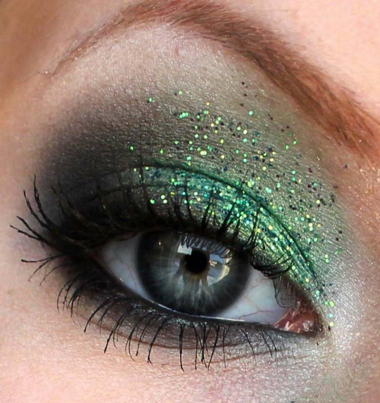 maquillaje de ojos ahumados-opciones-verde-negro