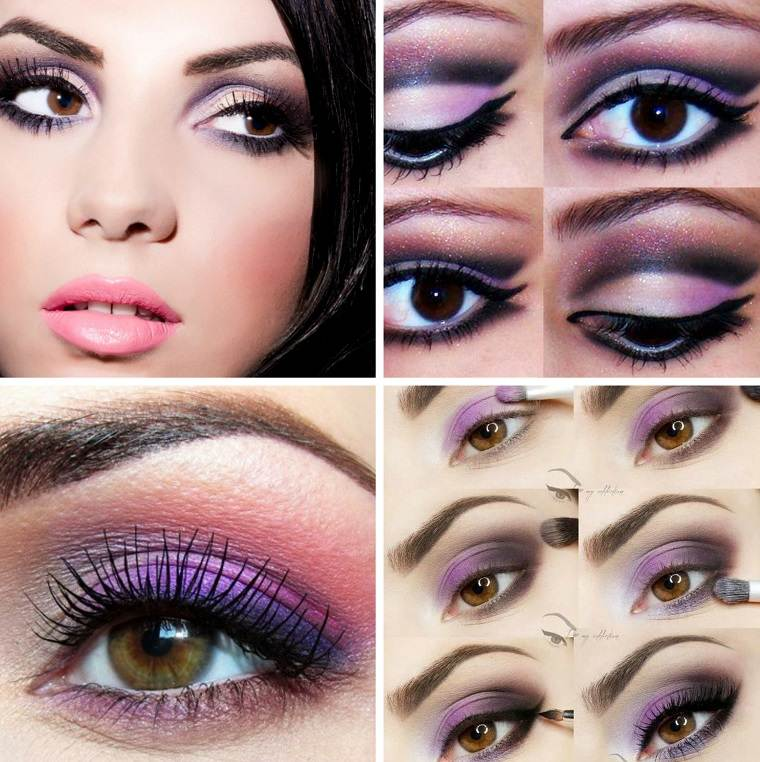 maquillaje de ojos-castanos-sombra-purpura