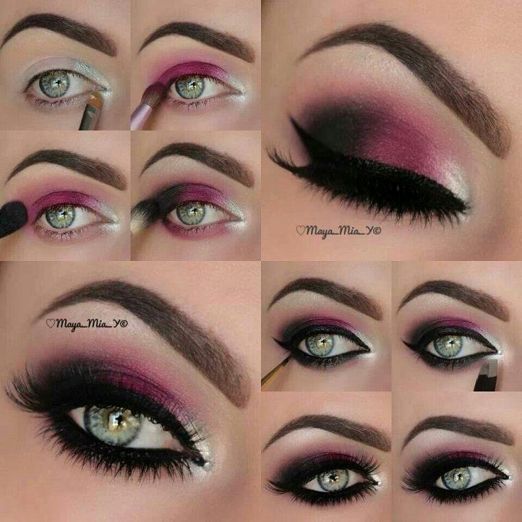 maquillaje ojos ahumados-diseno-lila