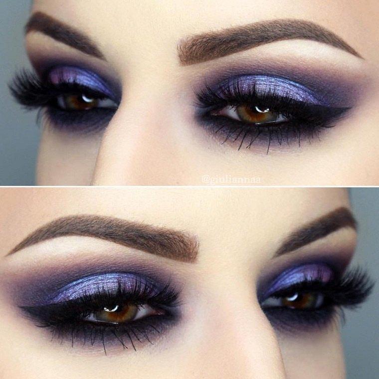 maquillaje ojos ahumados-diseno-purpura-ideas