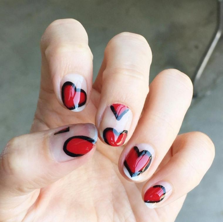 modelos de uñas corazones-rojo