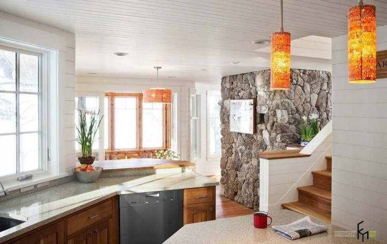Paredes de piedra e ideas decorativas para interior con - Paredes de piedra natural ...