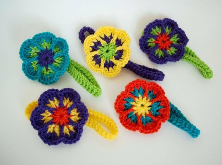cintas de pelo con Flores de crochet