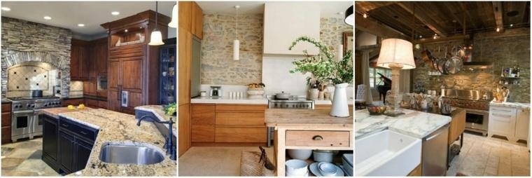 interiores con paredes de acento de piedra natural