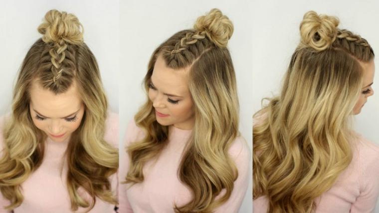 peinados melena trenza-centro-ondulaciones