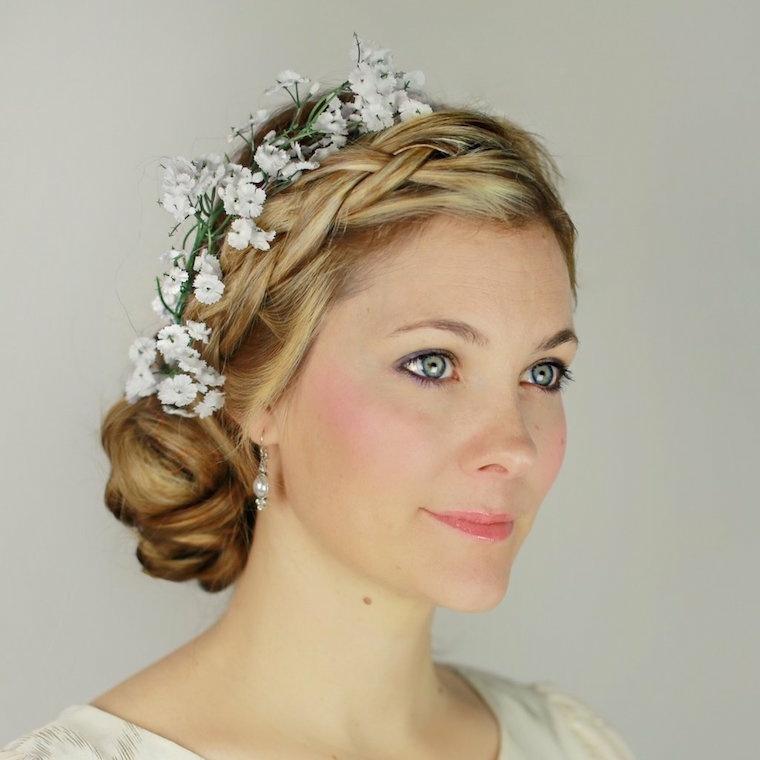 peinados para media melena-modernos-flores