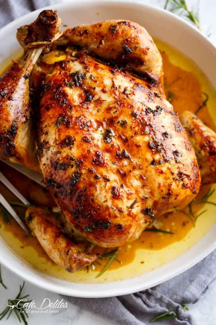 pollo al horno con mantequilla de ajo