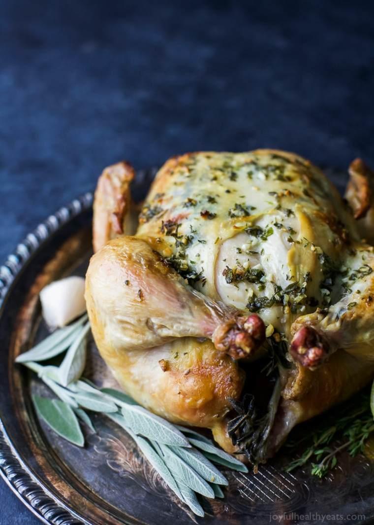 pollo asado con mantequilla de ajo