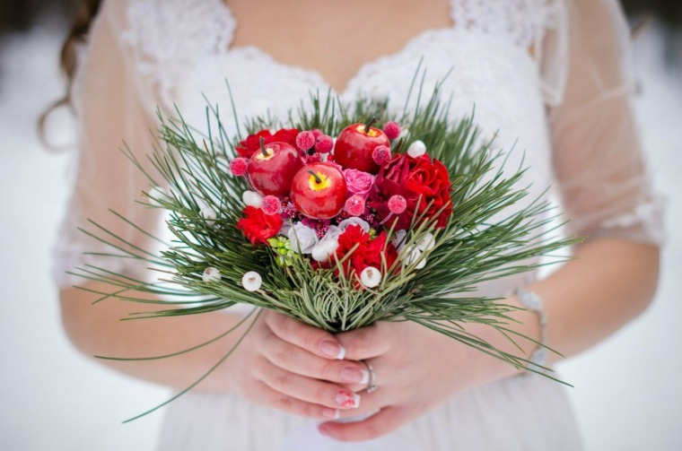 ramos de novia originales-rojo-verde