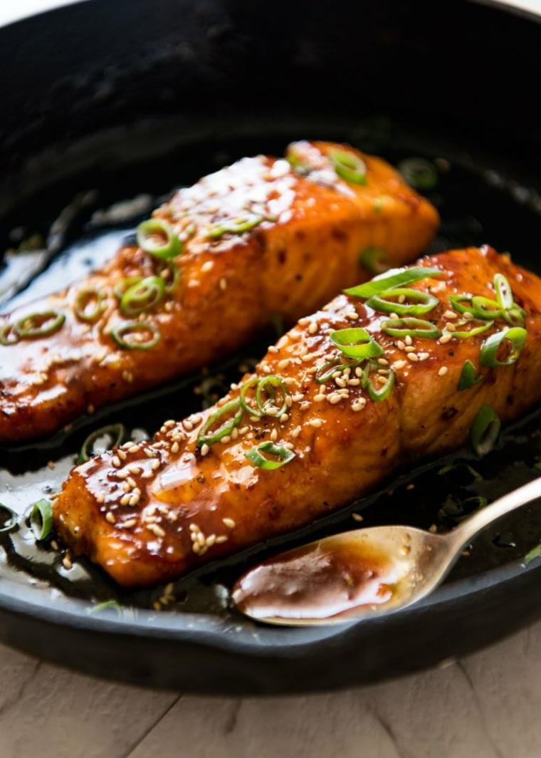 recetas de salmon con-ajo-y-miel