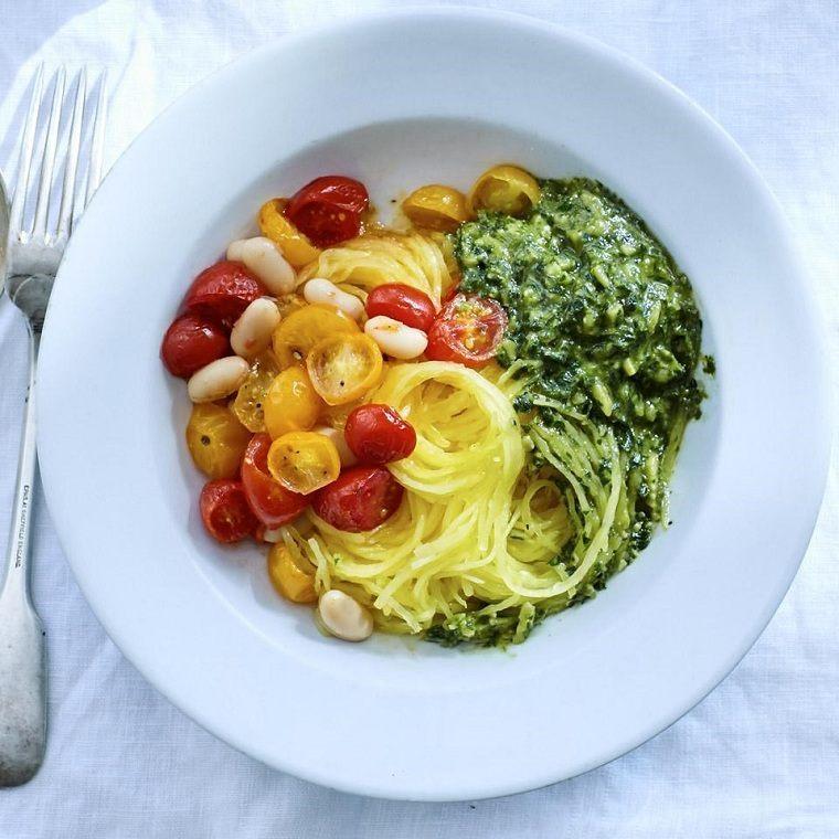 recetas saludables bajar de peso-espaguetis-pesto