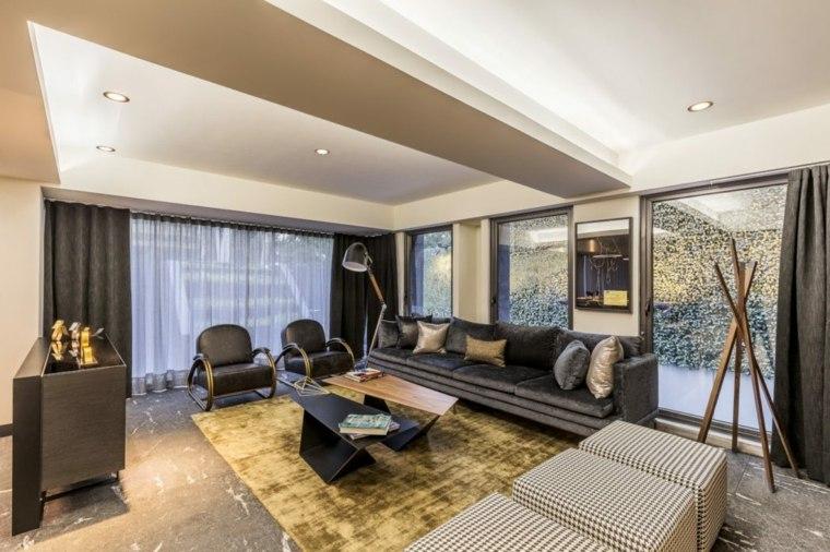 salones-de-diseno-muebles-negros-combinacion-texturas