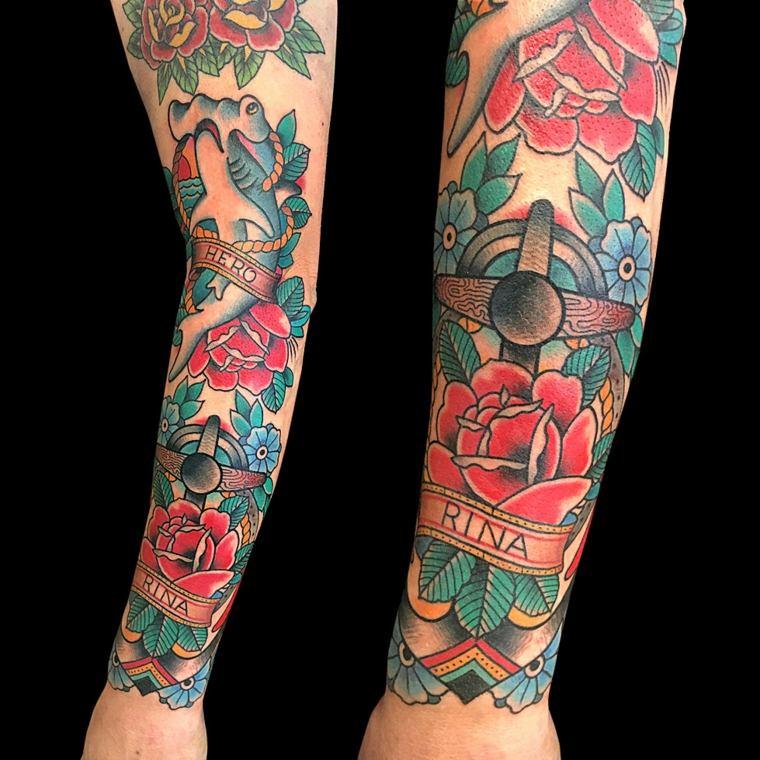 tatuajes de mangas-motivos-florales