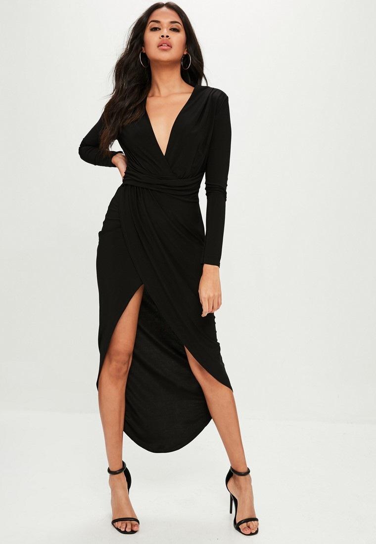 cómo vestir bien vestido-largo-manga-larga-color-negro