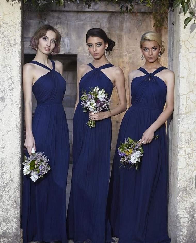 vestidos de dama de honor-modelos-azul
