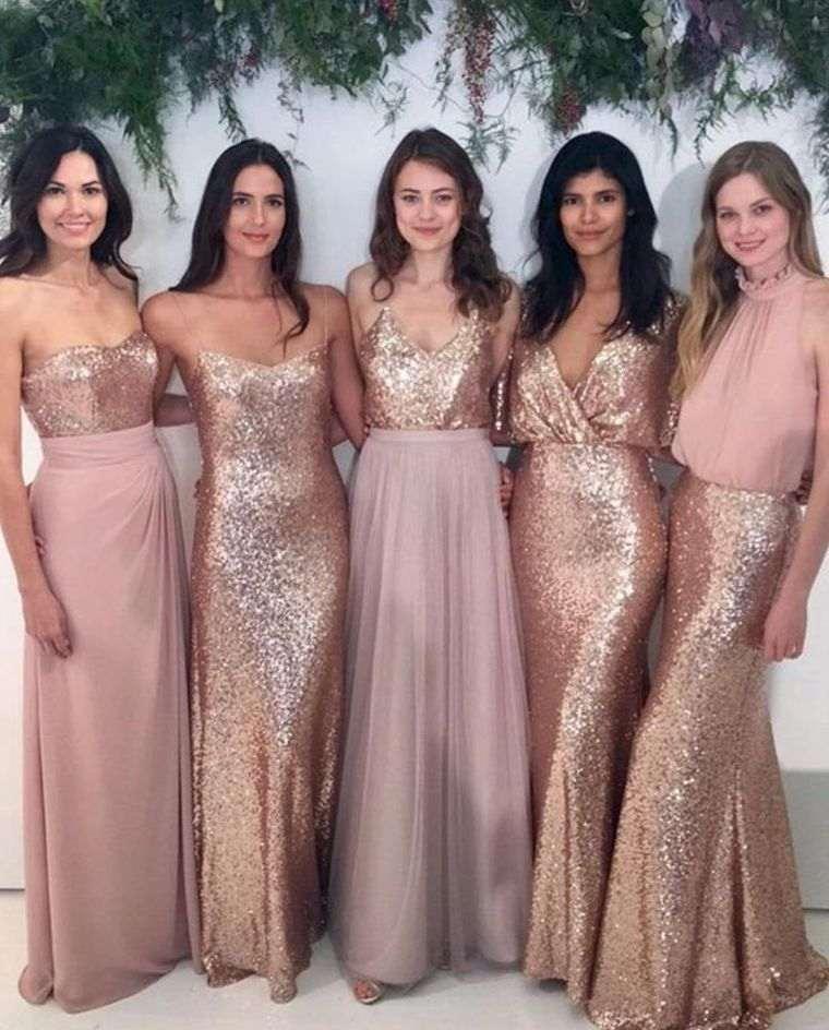 vestidos de dama de honor-modelos-brillo