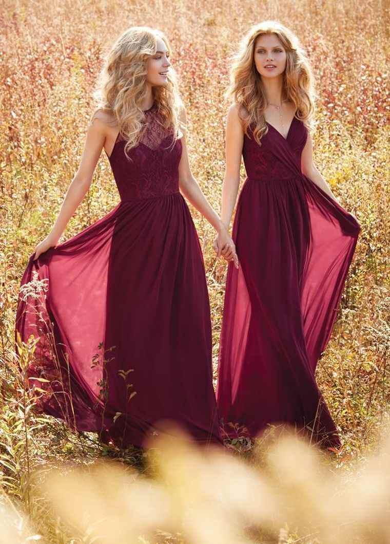 vestidos de dama de honor-modelos-burdeos