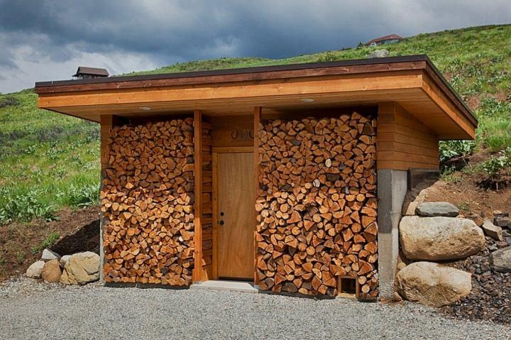 almacenamiento exterior cabaña montana