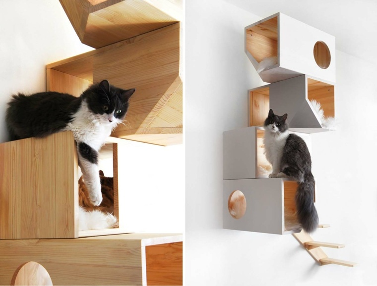 castillos para gatos-madera-pared