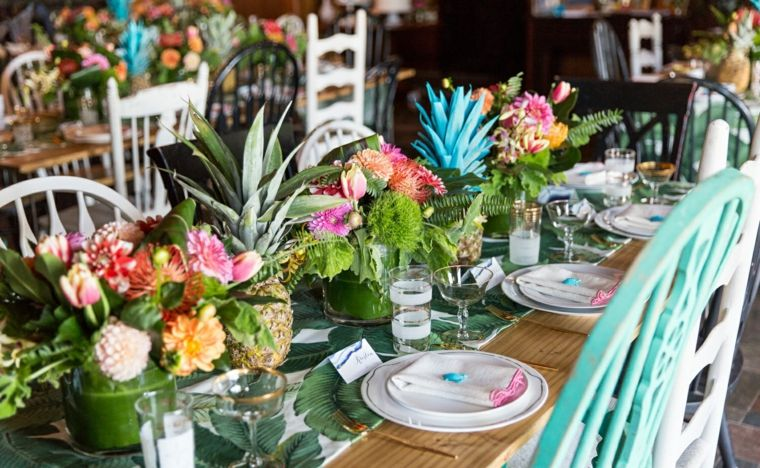 centro-mesa-baby-shower-lujoso-estilo-tropical