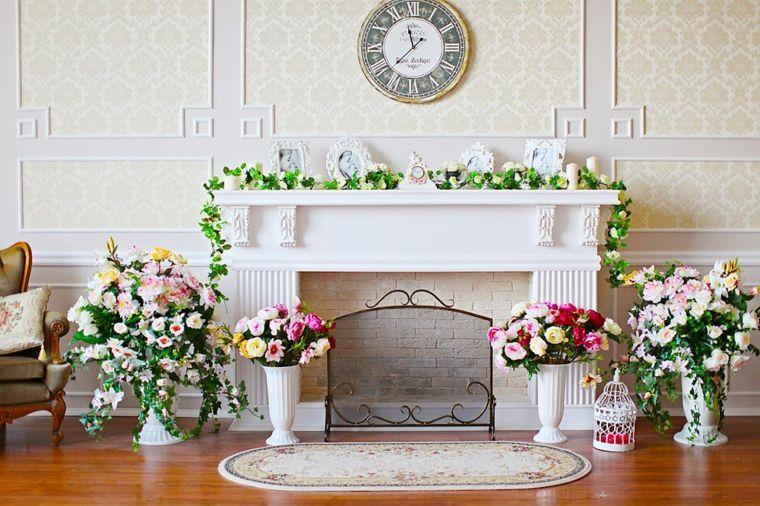 chimeneas modernas-decoradas-flores-jarrones