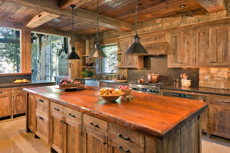 cocinas de madera rústicas