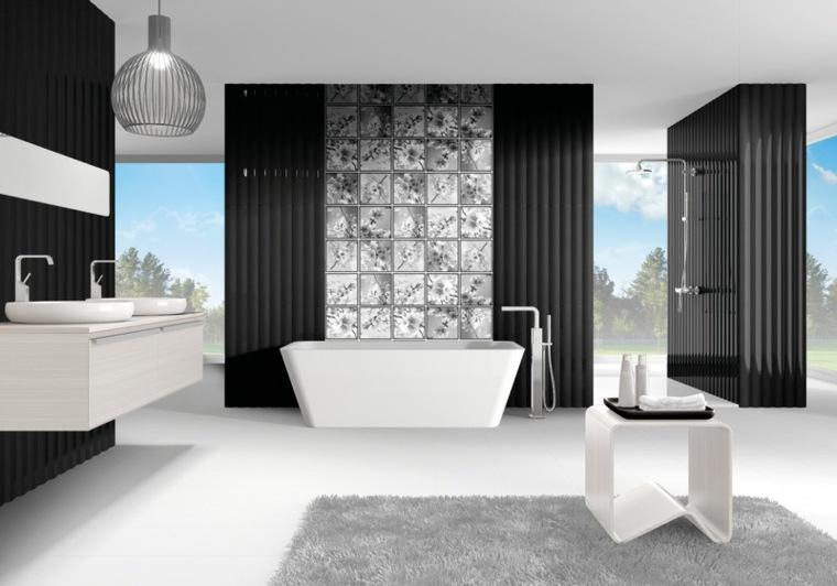 decoracion banos-blanco-negro