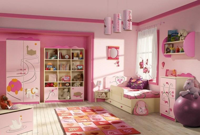 decoración de cuartos para niños chicas-rosa-ideas