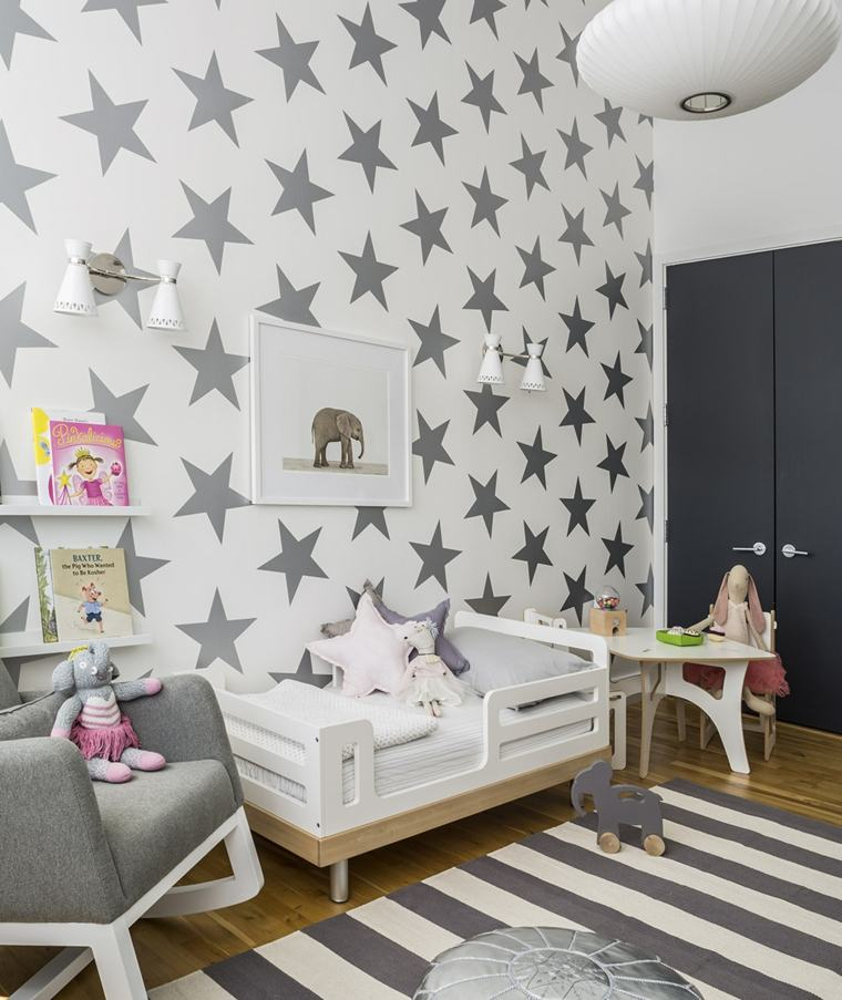 decoracion-interiores-habitaciones-papel-pared-estrellas