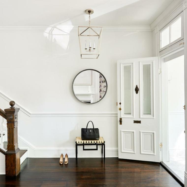 decoracion recibidores espejo redondo