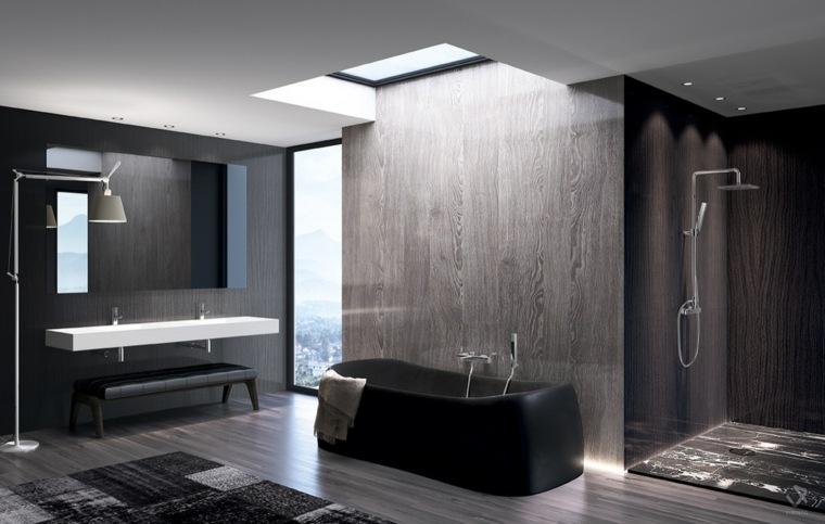diseños de baños opciones-estilo-moderno-negro-gris