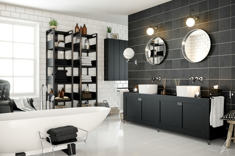 diseños de baños opciones-estilo-negro-blanco