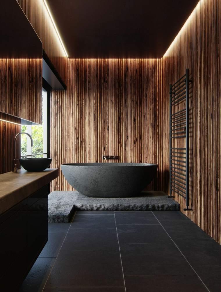 diseño de baños -opciones-estilo-negro-madera