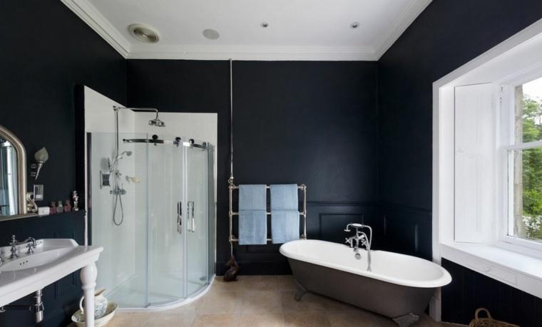 diseño de baños opciones-estilo-paredes-negras
