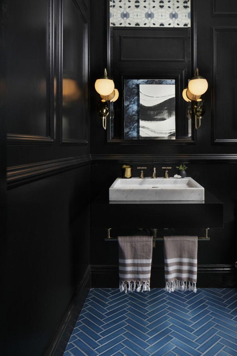 diseño de baños opciones-paredes-negras-losas-azules