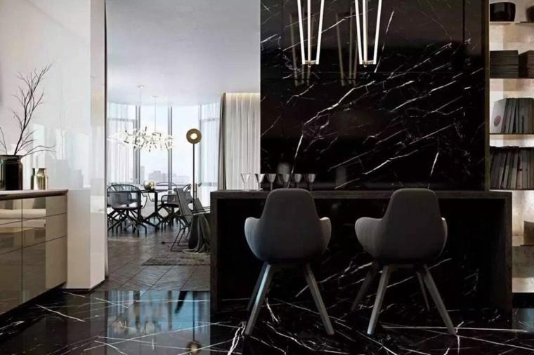 diseno de interiores de casas-marmol-negro