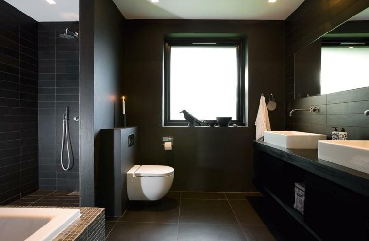 Diseños de baños modernos en negro y sus combinaciones -