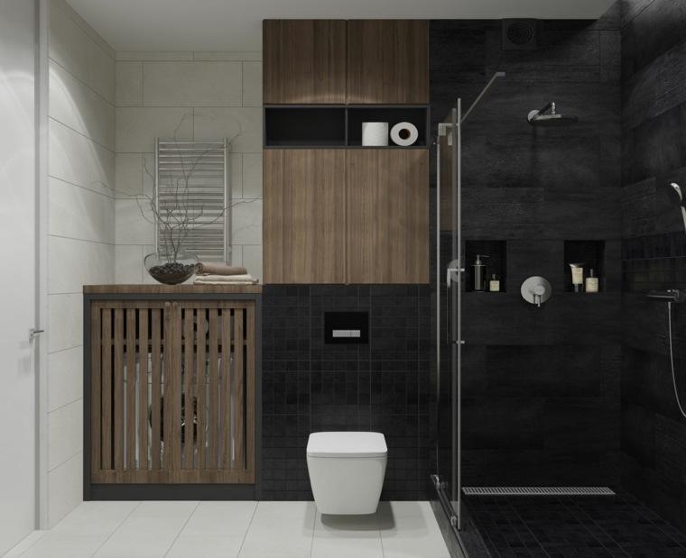 disenos-de-banos-negro-decoracion-madera