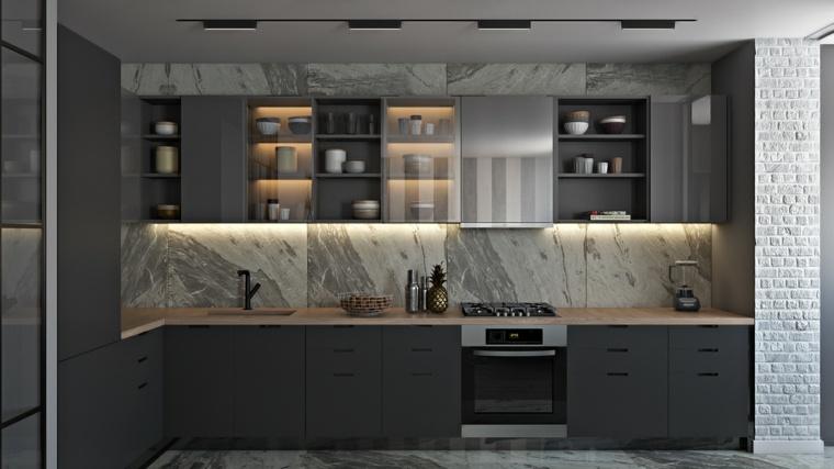 diseños de cocinas-contemporaneas-estilo-gris