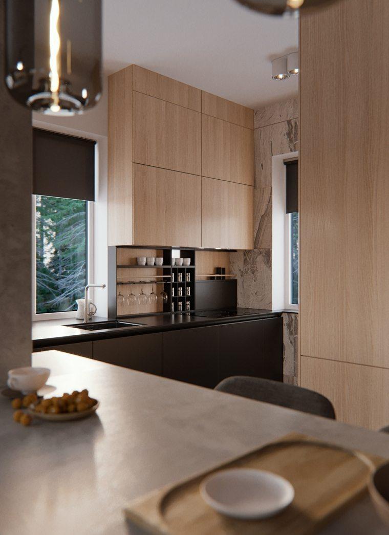 diseños de cocinas-contemporaneas-estilo-negro-madera