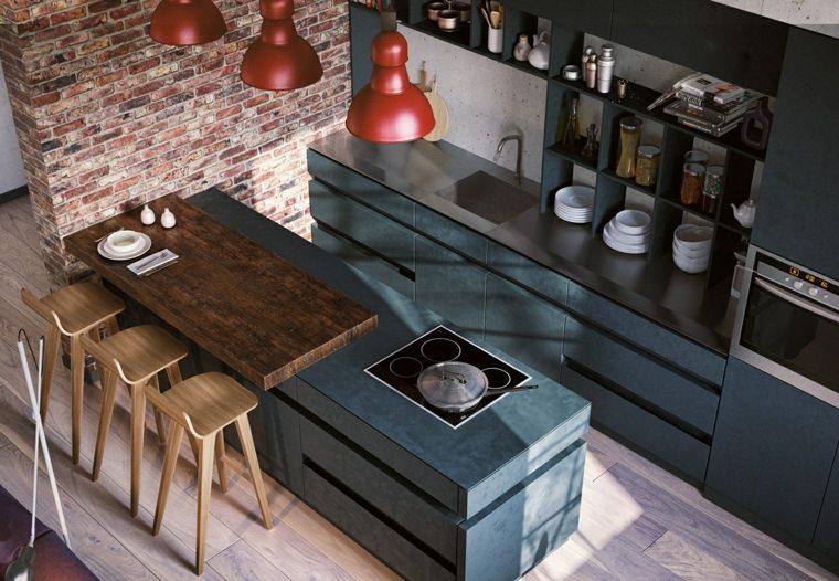 diseños de cocinas-contemporaneas-isla-grande-sillas-madera