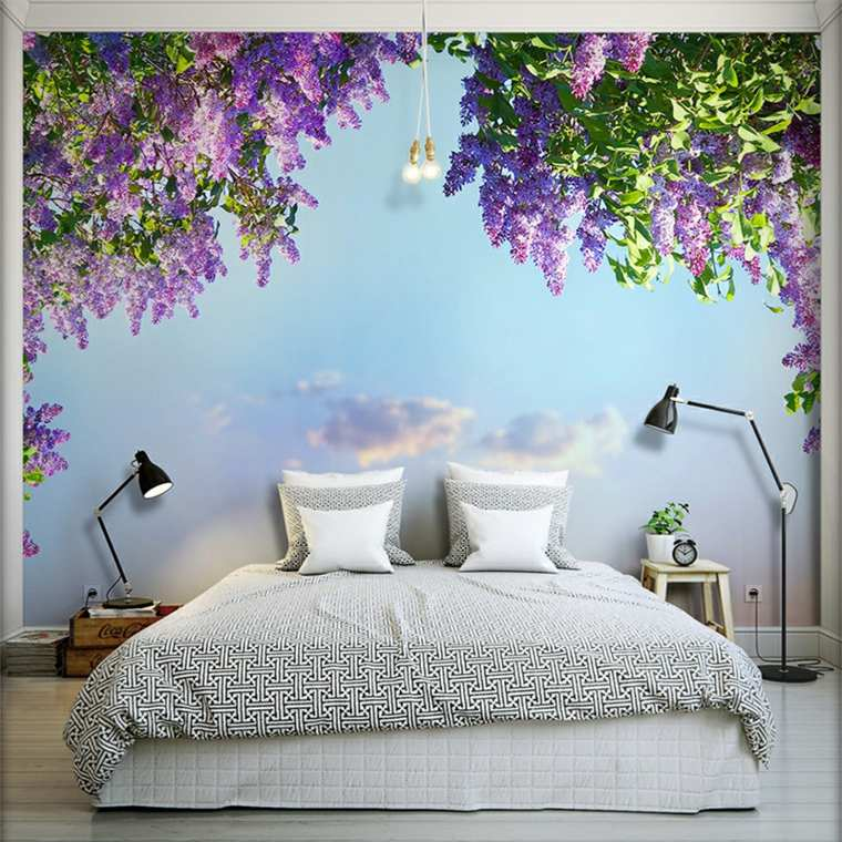 disenos de cuartos-flores-pared