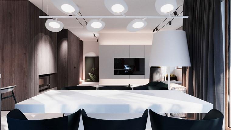 diseño de interiores de casas-madera-nogal-comedor