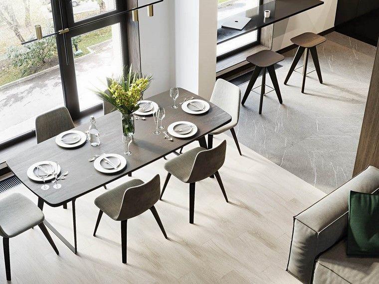 disenos-de-interiores-de-casas-madera-nogal-mesa-comedor