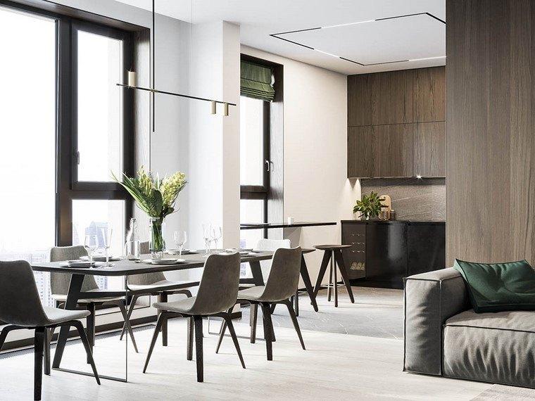 diseño de interiores de casas-madera-nogal-mesa