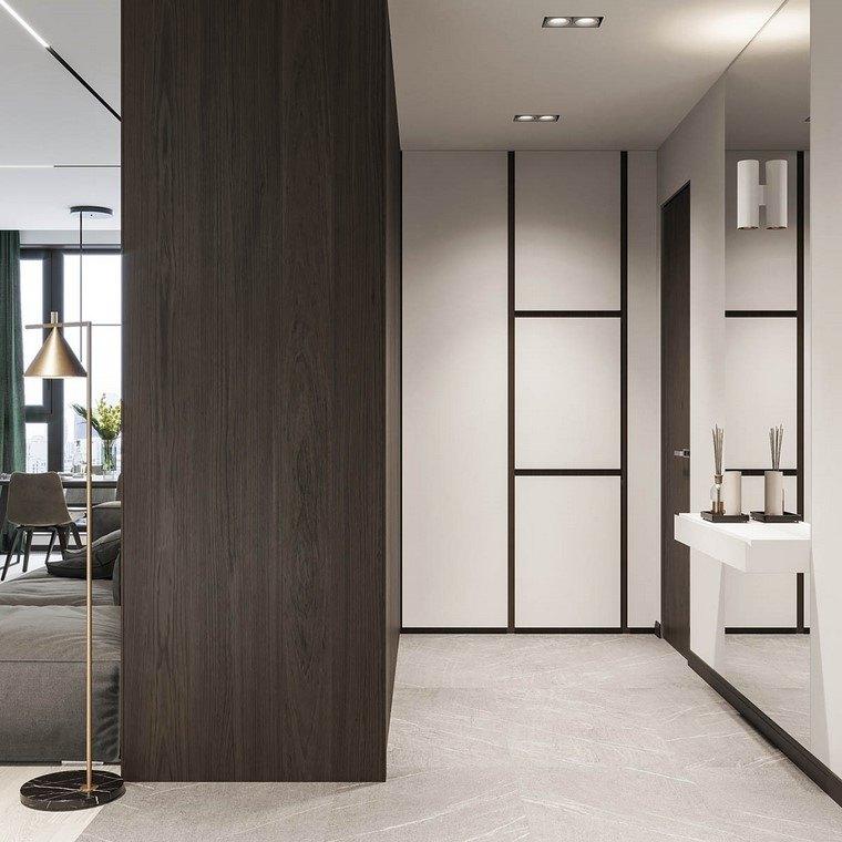 diseño de interiores de casas madera-nogal-pasillo