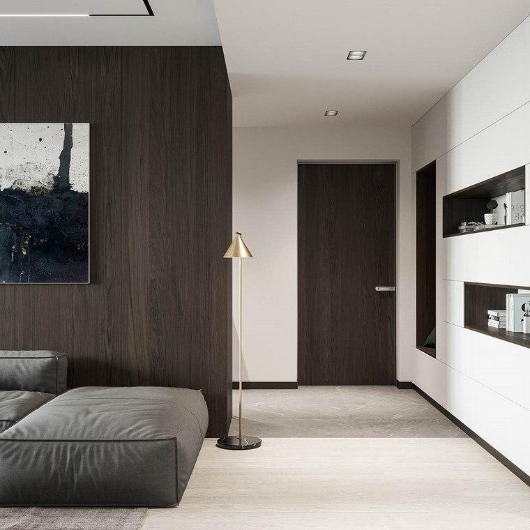 diseño de interiores de casas madera-nogal-puerta