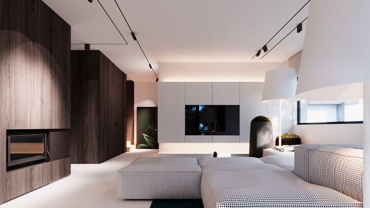 diseño de interiores de casas-madera-nogal-sofa-blanco-negro