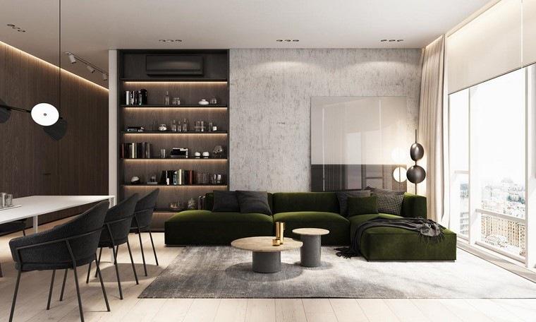 diseño de interiores de casas madera-nogal-sofa-verde